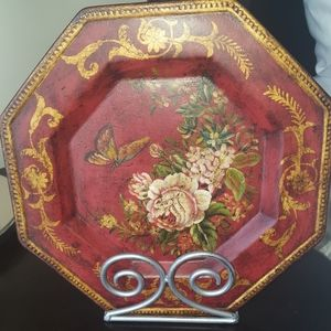 Ceramic decorative plate with stand